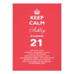 Keep Calm Funny Milestone 21st Birthday Invite