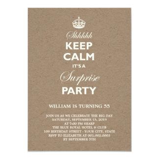 Keep Calm Funny Milestone Surprise Birthday Party 11 Cm X 16 Cm Invitation Card
