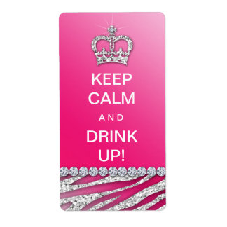 Keep Calm Funny Wine Label Diva Pink Glitter Shipping Label