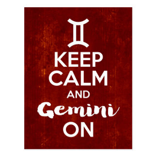 Keep Calm Gemini On Birthday Astrology Postcard