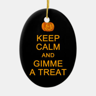 Keep Calm & Gimme A Treat ornament, customize Christmas Ornament