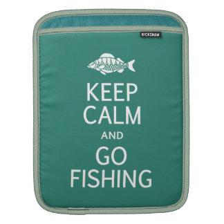 Keep Calm & Go Fishing custom color iPad sleeve