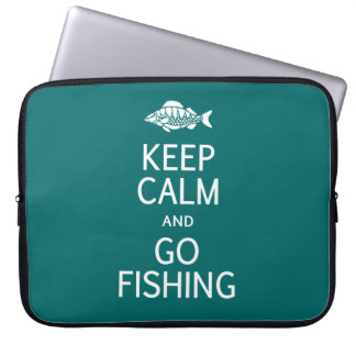 Keep Calm & Go Fishing custom color laptop sleeve