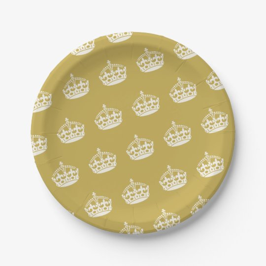 Keep Calm Gold Crown Birthday Party Paper Plates
