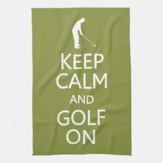 Keep Calm & Golf On custom color kitchen towel