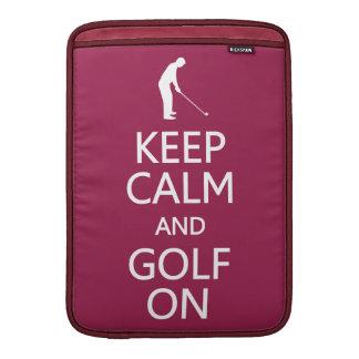 Keep Calm & Golf On custom color MacBook sleeve