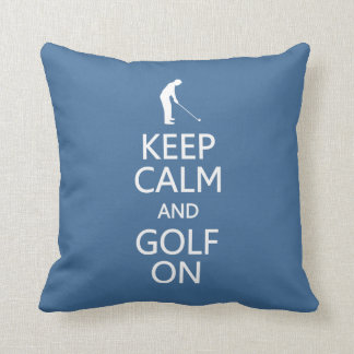 Keep Calm & Golf On custom color throw pillow