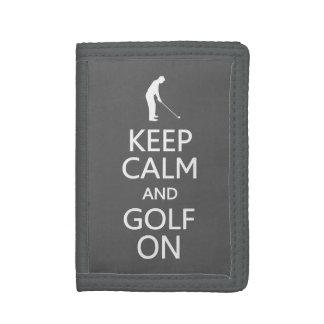 Keep Calm & Golf On custom color wallets