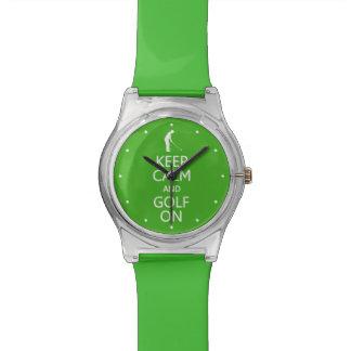 Keep Calm & Golf On custom color watches