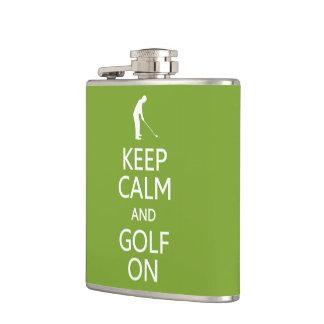 Keep Calm & Golf On custom flask