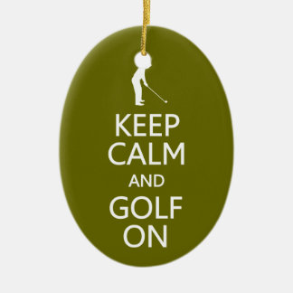 Keep Calm & Golf On custom ornament