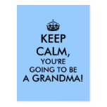 Keep Calm Grandma Postcard Pregnancy Announcement