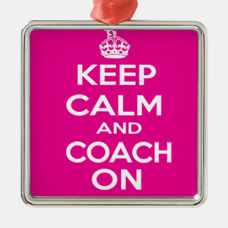 Keep Calm Gymnastics Coach Gift Silver-Colored Square Decoration