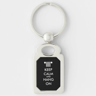 Keep Calm Hang On Silver-Colored Rectangle Key Ring