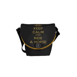 Keep Calm Horse in Gold Mini Zero Messenger Bag