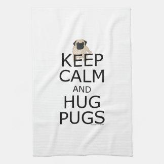Keep Calm Hug Pugs Tea Towel