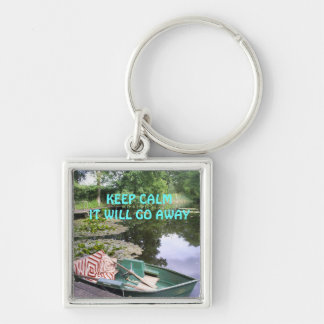 Keep calm, humerous Silver-Colored square key ring