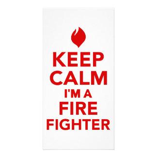 Keep calm I m a firefighter Custom Photo Card