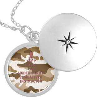 Keep Calm I'm a Modern Army Combatives Instructor Round Locket Necklace