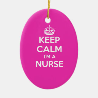 KEEP CALM I'M A NURSE PINK NURSING GIFT CHRISTMAS ORNAMENT