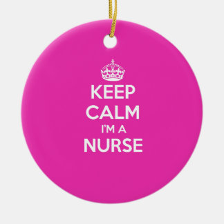 KEEP CALM I'M A NURSE PINK NURSING GIFT ROUND CERAMIC DECORATION