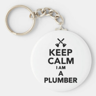 Keep calm I'm a Plumber Basic Round Button Key Ring