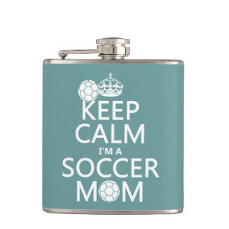 Keep Calm I'm a Soccer Mom (in any color) Hip Flask