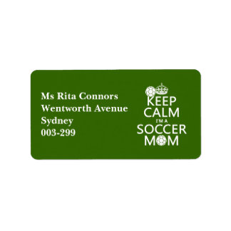 Keep Calm I'm a Soccer Mom (in any color) Label