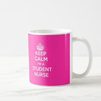 KEEP CALM I'M A STUDENT NURSE PINK NURSING GIFT BASIC WHITE MUG