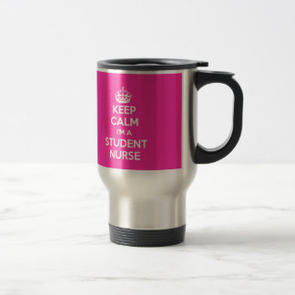 KEEP CALM I'M A STUDENT NURSE PINK NURSING GIFT STAINLESS STEEL TRAVEL MUG
