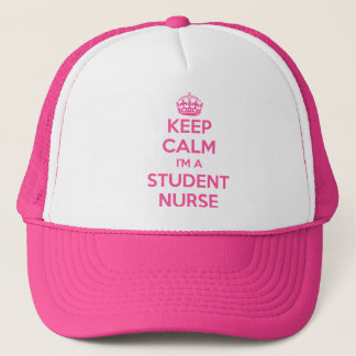 KEEP CALM I'M A STUDENT NURSE PINK NURSING GIFT TRUCKER HAT