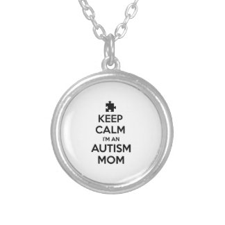 Keep Calm I'm An Autism Mom Silver Plated Necklace