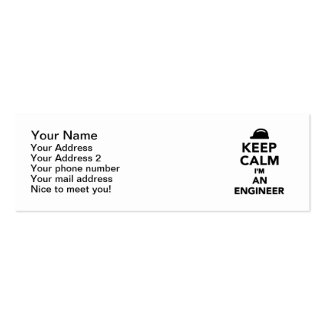 Keep calm I'm an Engineer Double-Sided Mini Business Cards (Pack Of 20)