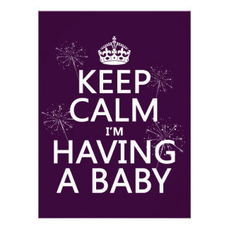 Keep Calm I'm Having A Baby (any color) Custom Announcement