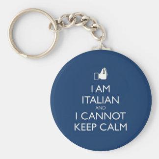 Keep Calm Im Itaian Basic Round Button Key Ring