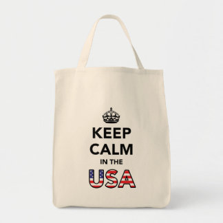 Keep Calm in the USA Black png Bags