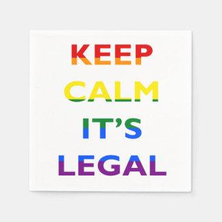Keep Calm It's Legal Support LGBT Napkins Disposable Serviette