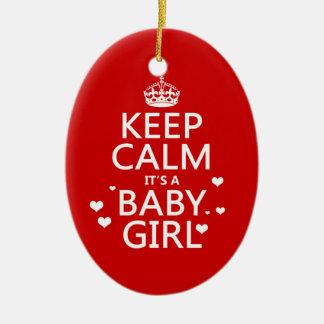 Keep Calm It's a Baby Girl Christmas Ornament