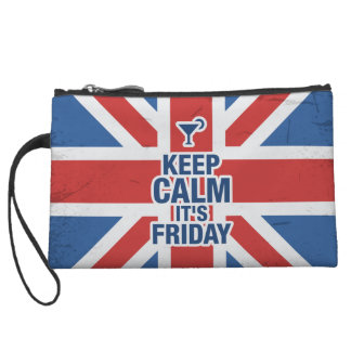 """Keep Calm it's Friday"" Funny relax chill british Wristlets"