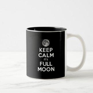KEEP CALM its FULL MOON in Black Two-Tone Coffee Mug