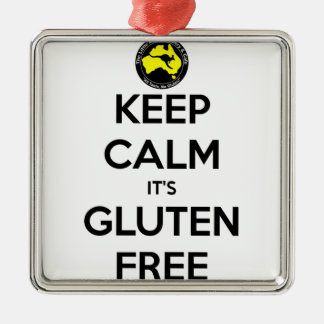 Keep Calm it's Gluten Free Silver-Colored Square Decoration