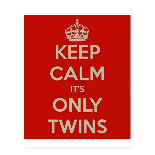 Keep Calm It's Only Twins Post Cards