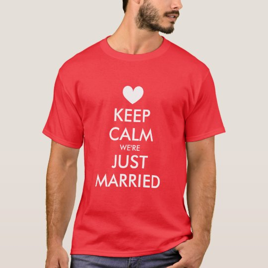 Keep calm just married t shirts for newly