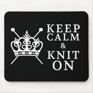 Keep Calm Knit On Crafts {Dark} Mouse Pad