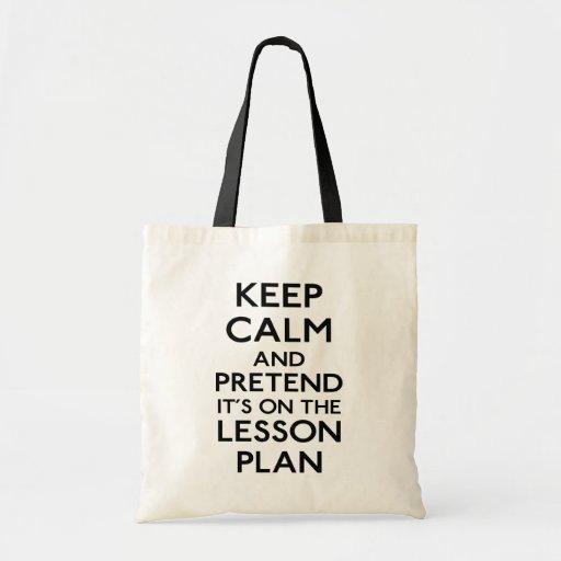 Keep Calm Lesson Plan Canvas Bags