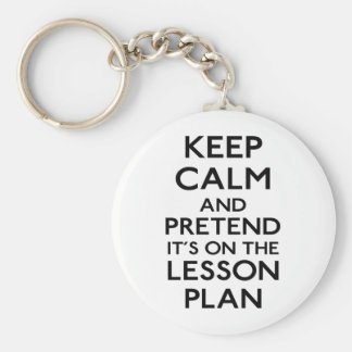 Keep Calm Lesson Plan Basic Round Button Key Ring