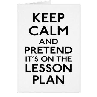 Keep Calm Lesson Plan Greeting Cards