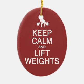 Keep Calm & Lift Weights custom color ornament