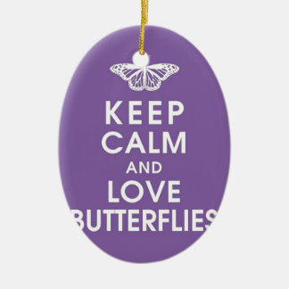 Keep Calm Love Butterflies Ceramic Oval Decoration
