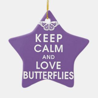 Keep Calm Love Butterflies Ceramic Star Decoration